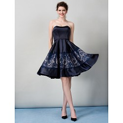 Australia Formal Dresses Cocktail Dress Party Dress Dark Navy A-line Strapless Short Knee-length Satin